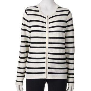 Croft & Barrow Striped Textured Zip Up Cardigan